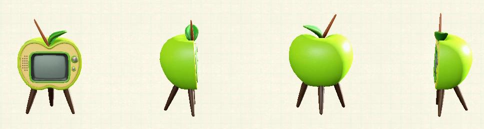 あつ森のリンゴのテレビの青リンゴパターン