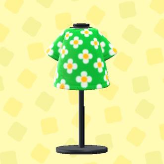 あつ森のはながらのTシャツのグリーン