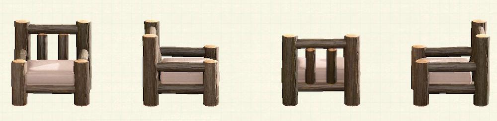 あつ森の丸太のソファのリメイクダークウッドパターン