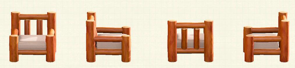 あつ森の丸太のソファのリメイクオレンジウッドパターン