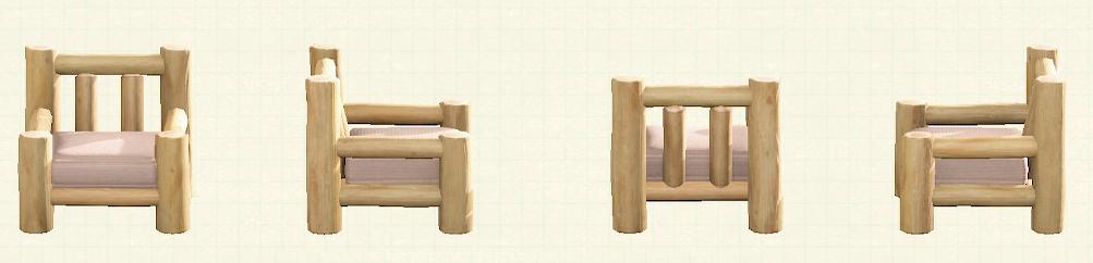 あつ森の丸太のソファのリメイクホワイトウッドパターン