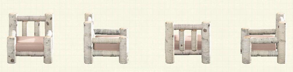 あつ森の丸太のソファのリメイク白樺パターン