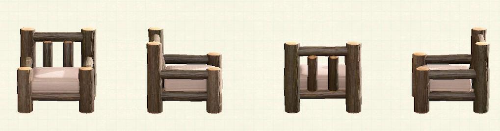 あつ森の丸太のソファのリメイクなしパターン