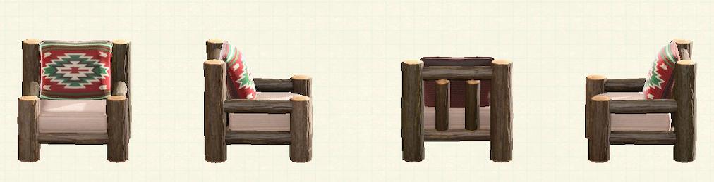 あつ森の丸太のソファのリメイクキリムパターン