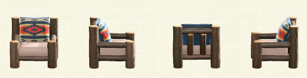 あつ森の丸太のソファのリメイクチマヨパターン