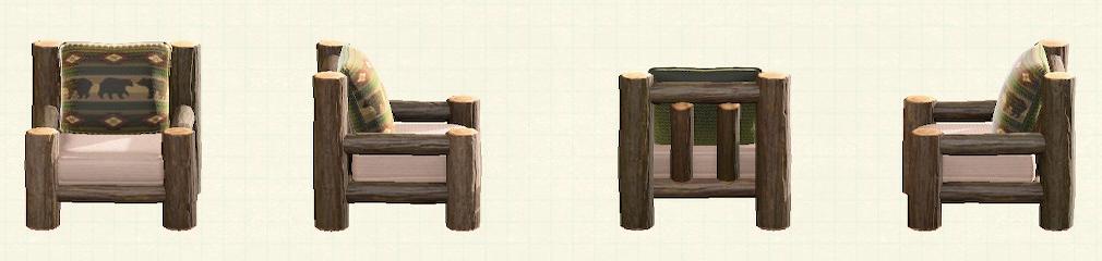 あつ森の丸太のソファのリメイククマパターン