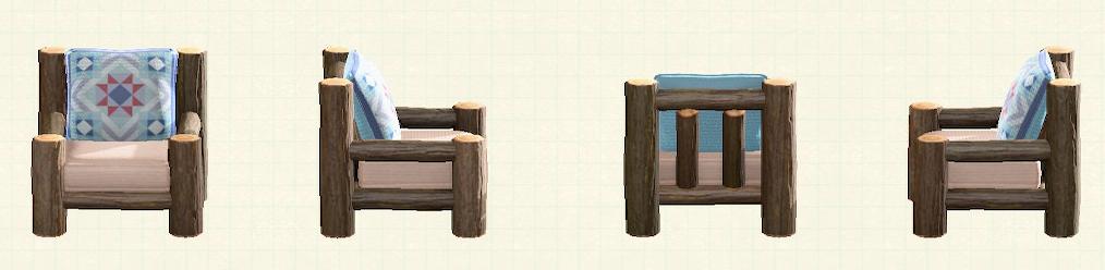 あつ森の丸太のソファのリメイクキルトパターン