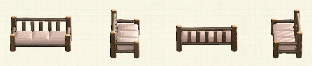 あつ森の丸太のロングソファのリメイクダークウッドパターン