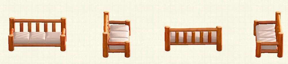 あつ森の丸太のロングソファのリメイクオレンジウッドパターン