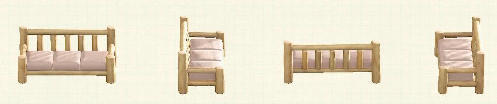 あつ森の丸太のロングソファのリメイクホワイトウッドパターン