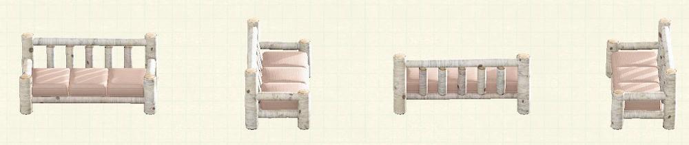 あつ森の丸太のロングソファのリメイク白樺パターン