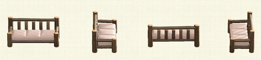あつ森の丸太のロングソファのリメイクなしパターン