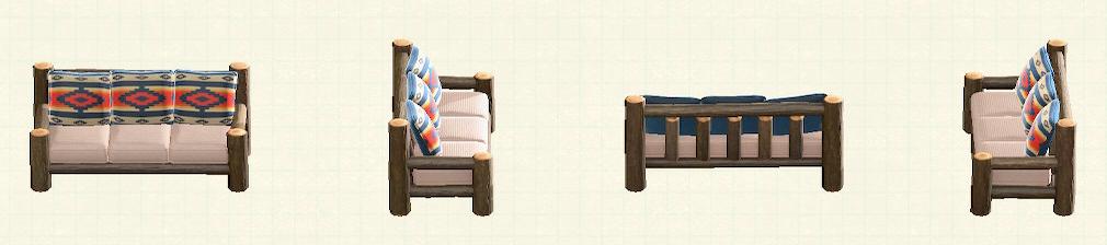 あつ森の丸太のロングソファのリメイクチマヨパターン