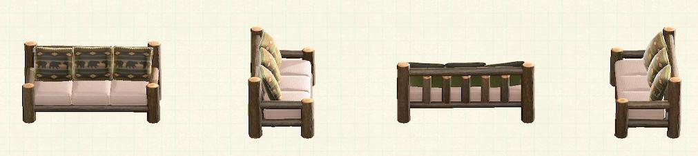 あつ森の丸太のロングソファのリメイククマパターン