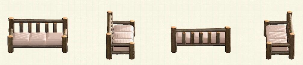 あつ森の丸太のロングソファのリメイクマイデザインパターン