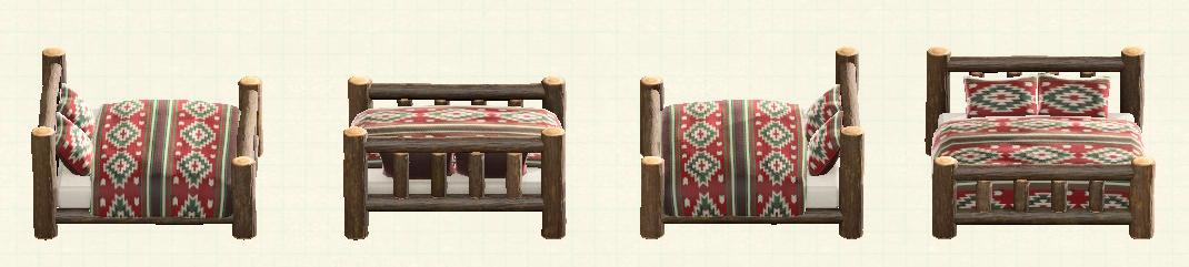 あつ森の丸太のベッドのリメイクダークウッドパターン