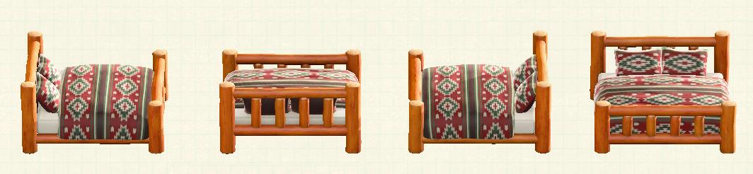 あつ森の丸太のベッドのリメイクオレンジウッドパターン