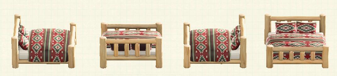 あつ森の丸太のベッドのリメイクホワイトウッドパターン