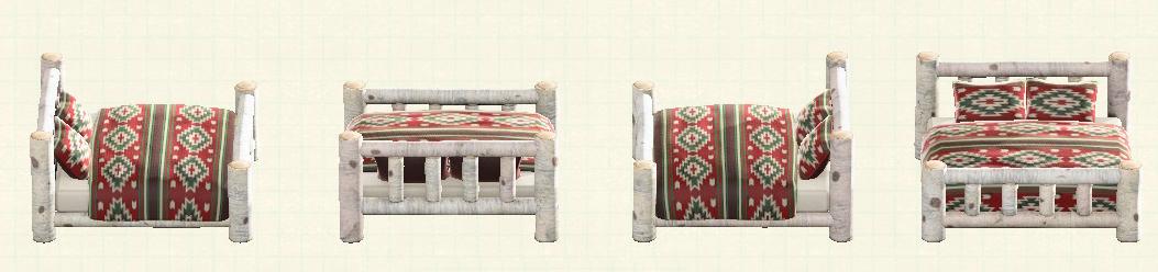 あつ森の丸太のベッドのリメイク白樺パターン
