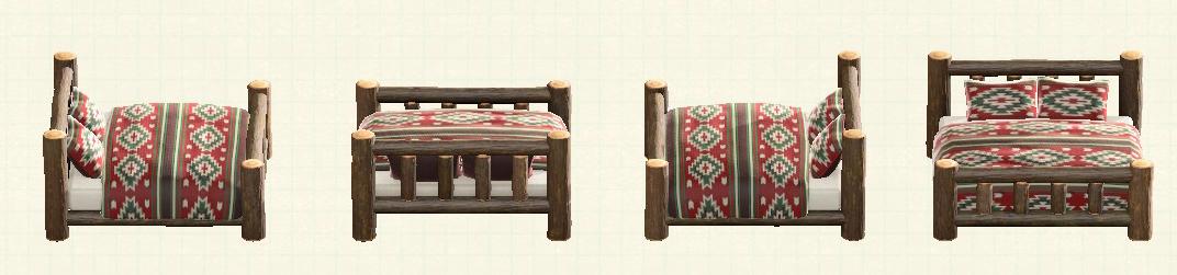 あつ森の丸太のベッドのリメイクキリムパターン