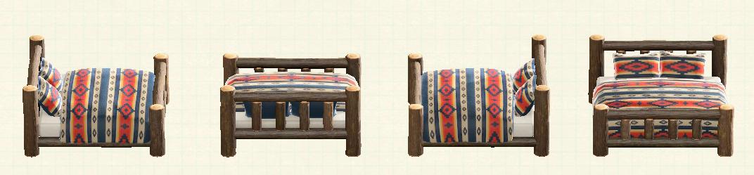 あつ森の丸太のベッドのリメイクチマヨパターン