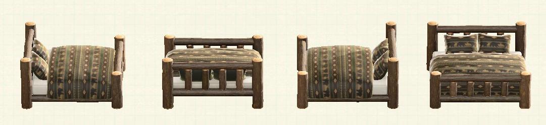 あつ森の丸太のベッドのリメイククマパターン