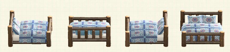 あつ森の丸太のベッドのリメイクキルトパターン