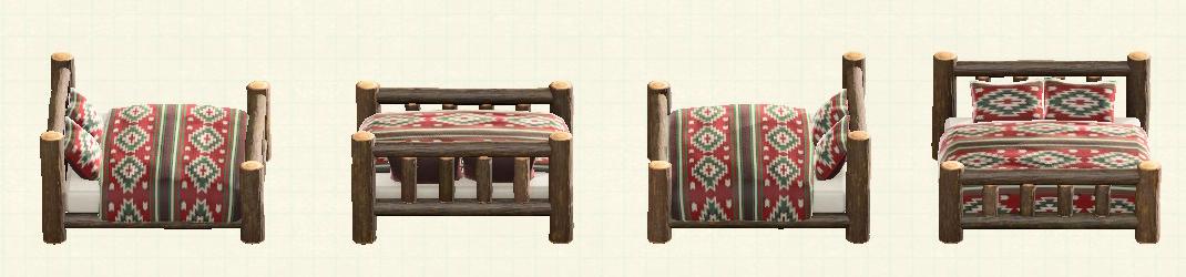 あつ森の丸太のベッドのリメイクマイデザインパターン