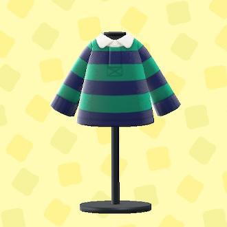 あつ森のラガーシャツのグリーン×ネイビー