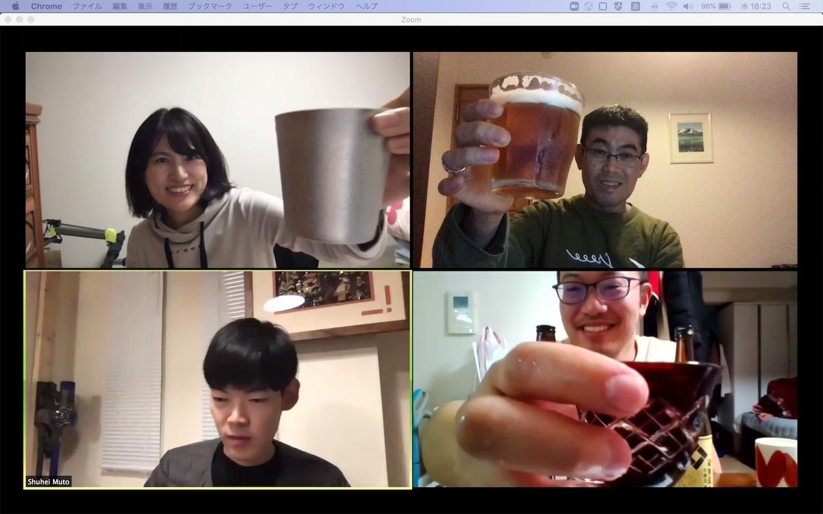 チームでオンライン飲み会を開いた時の写真。ネット越しにみんなで乾杯している