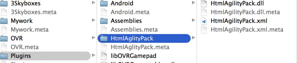 自分のUnityプロジェクトに、HtmlAgilityPack.dllとHtmlAgilityPack.xmlを入れるときのフォルダ構成