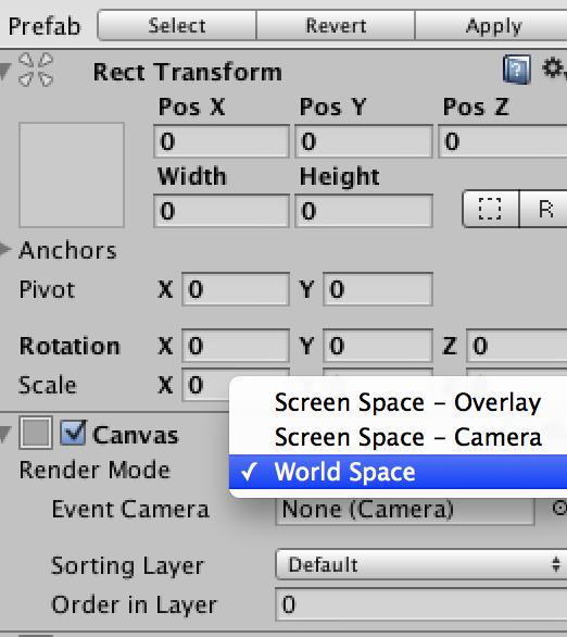 uGUIのRender ModeをWorldSpaceにしたときのUnityの画面