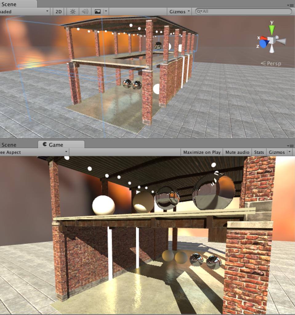 サンプルシーンの例(CubeProbeDemo.scene)