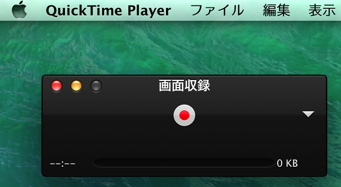 Quick Time Player 画面収録ボタン