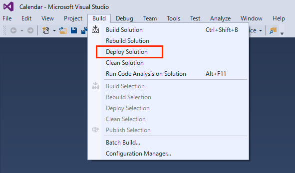 Visual StudioでDeploy Solutionを実行する画面