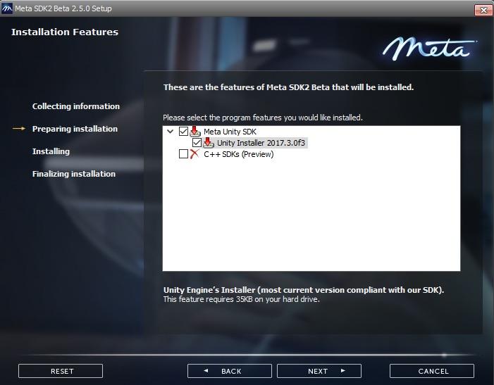 Meta2 SDK2.5のインストール画面