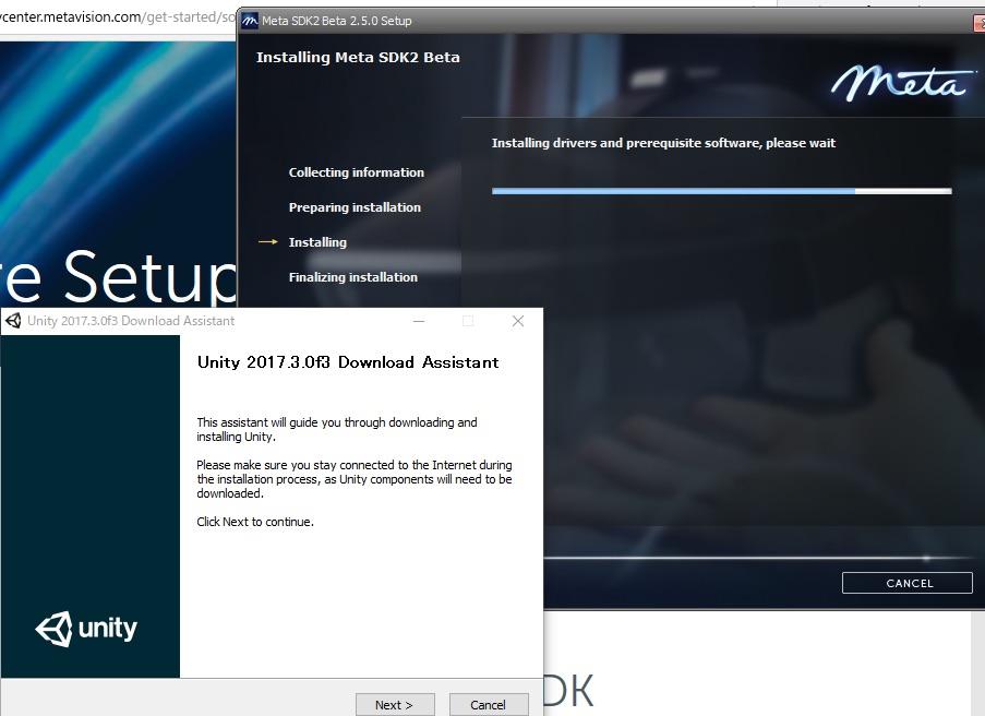Meta2 SDK2.5のインストールからUnityインストーラを立ち上げる例