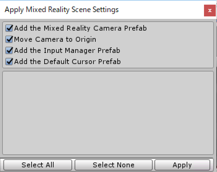 UnityでMixed Reality Tool Kitを使うときの設定画面