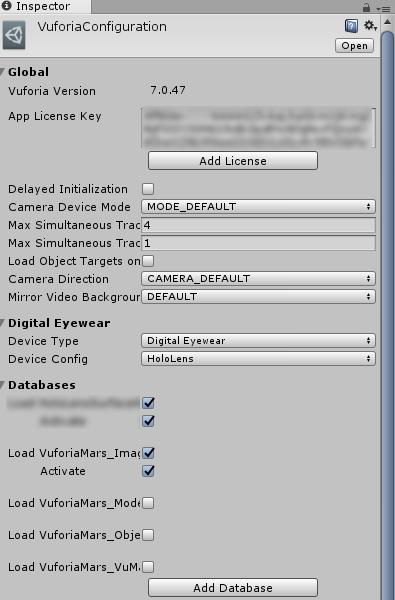 Vuforia Configuration画面