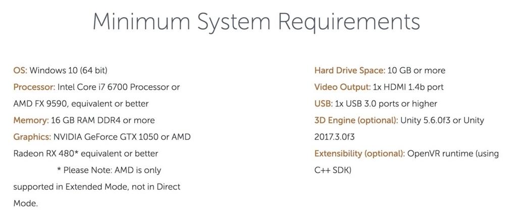 Meta2 SDK2.7のPC minimum requirement