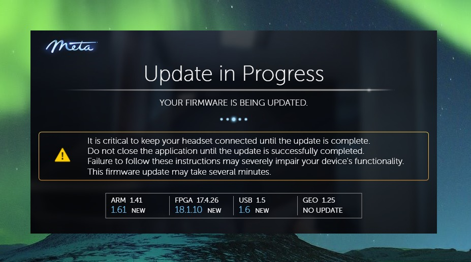 Meta2 SDK 2.7.0のFirmware Update画面
