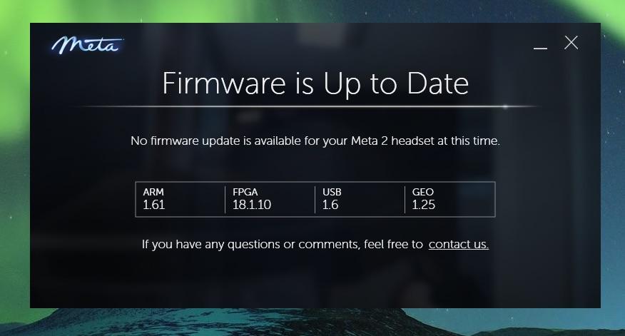 Meta2 SDK 2.7.0のFirmware Update完了画面