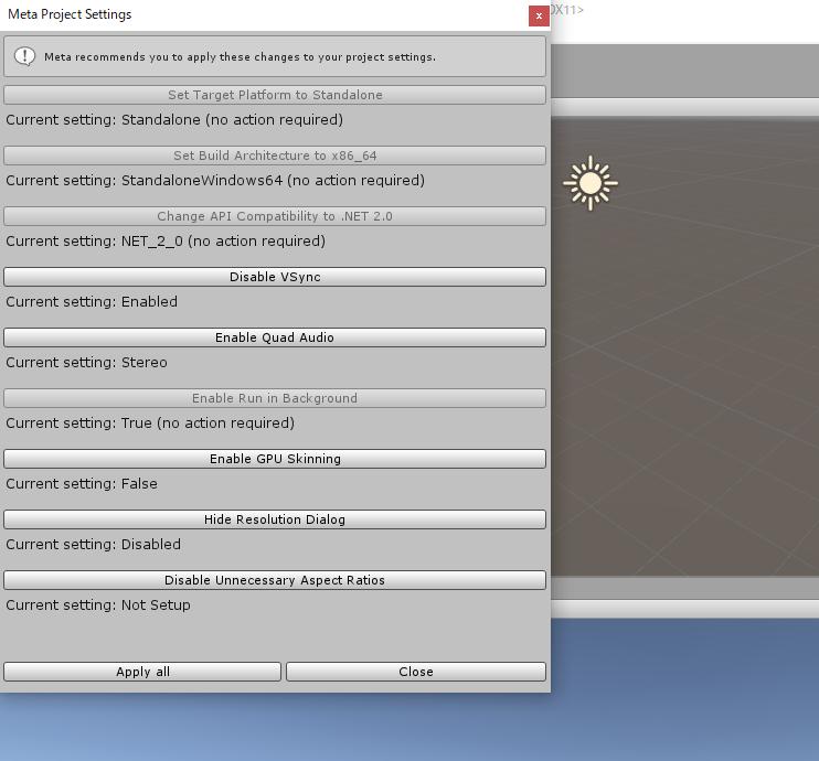 Meta2 Unity SDK 2.7で追加されたProject Settingsの自動設定画面