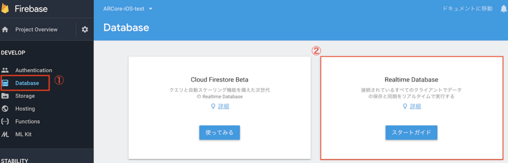 Realtime Databaseの種類選択