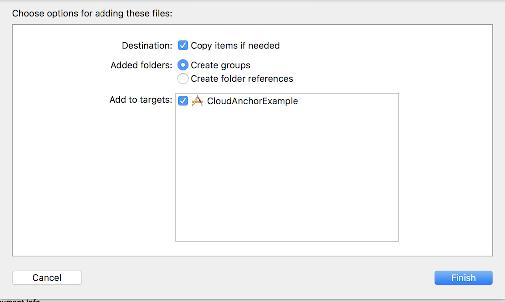 XCodeでファイル追加したときの画面