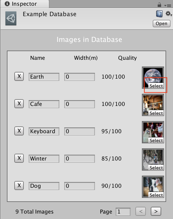 ARcore Augmented Imagesのサンプルデータベースのselectボタン