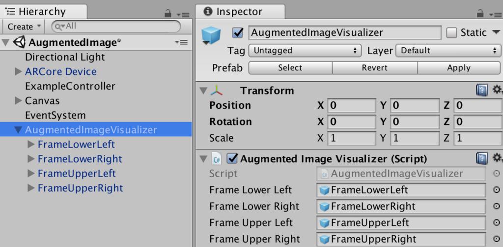 Augmented Image VisualizerというPrefabの構成