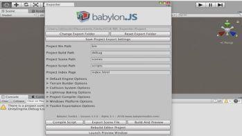 Babylon Editorの機能パネルをUnityで表示させた例 低解像度