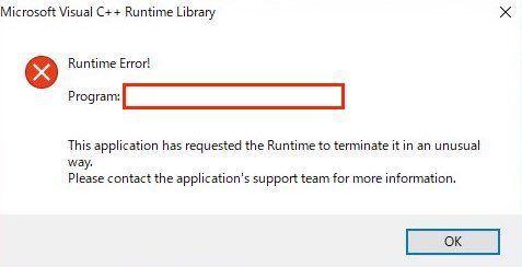 Visual C++ Runtime Errorの画面