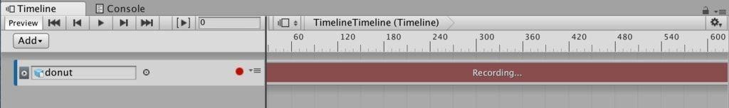 UnityタイムラインのAnimation TrackのRecording画面